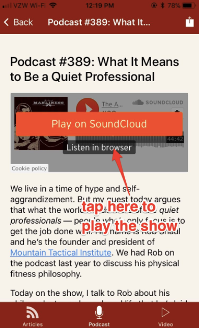 Poster about playing podcast on SoundCloud by AOM.