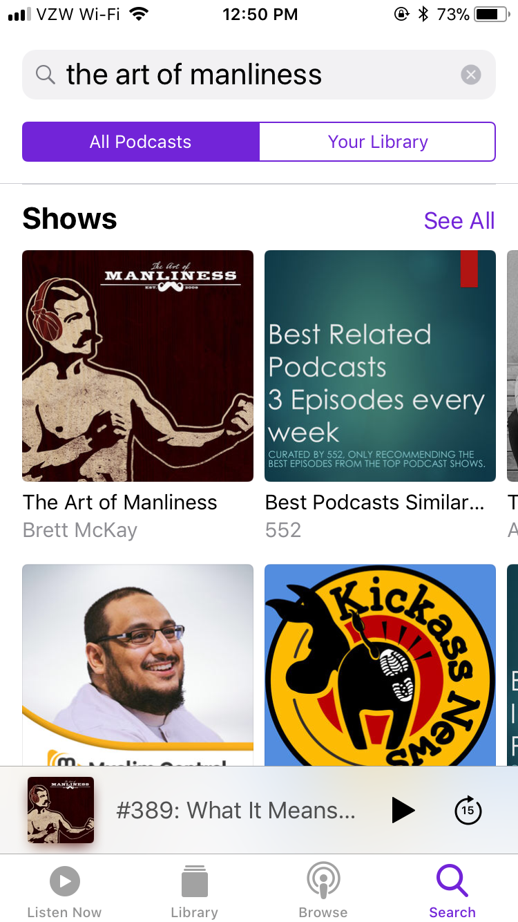 Podcast showing different shows.