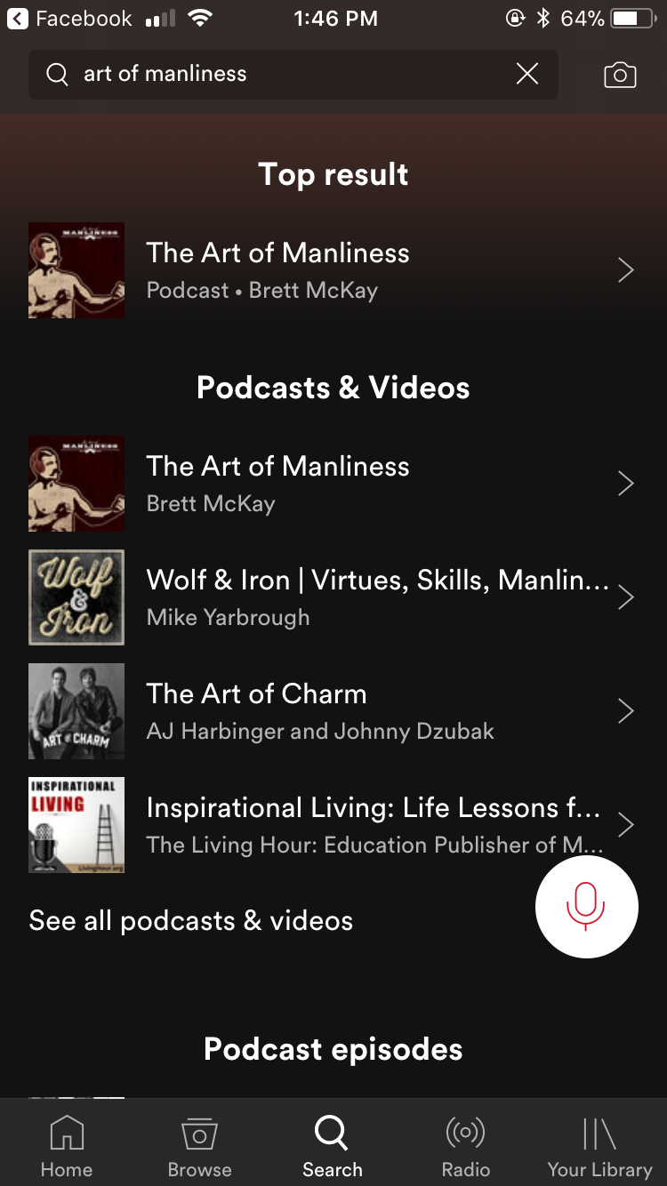 Page showing podcasts and videos of Art of Manliness.