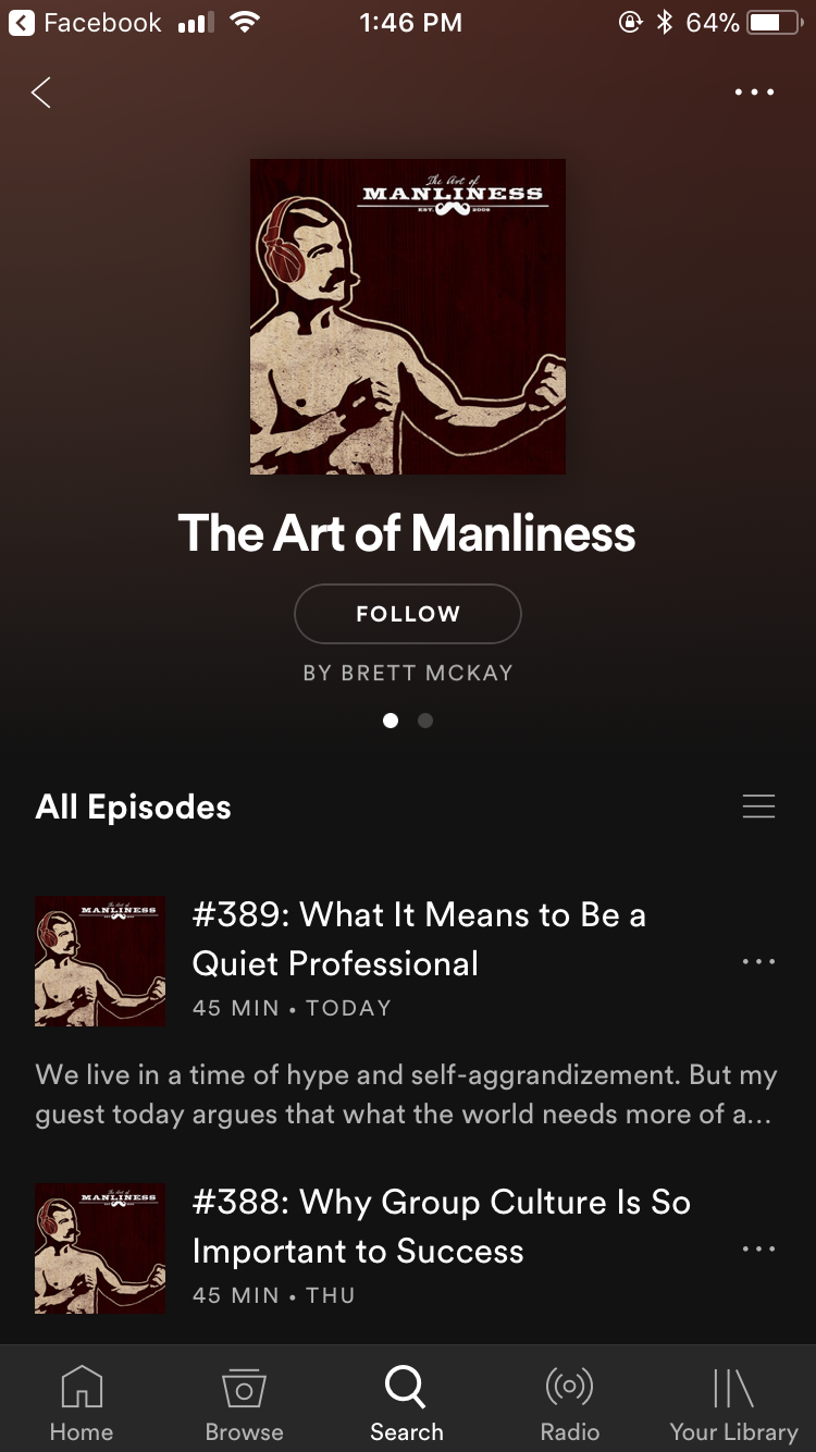 All episodes of Art of Manliness displayed.