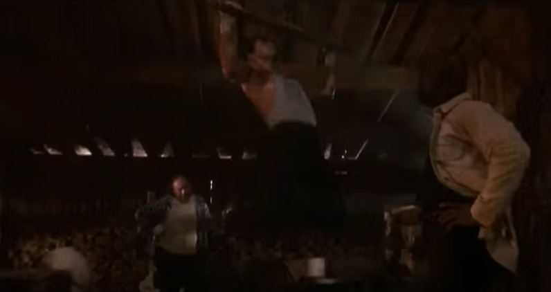 Rocky doing pull-ups on a beam.