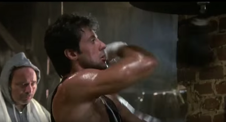 Rocky hitting the speed ball in movie.