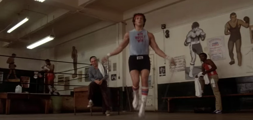 Rocky on a jumping rope.