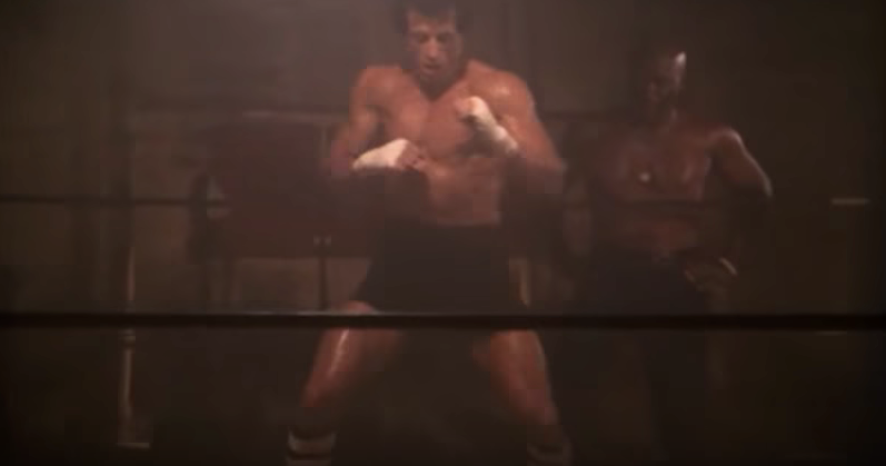 Rocky while boxing with his shadow in movie.