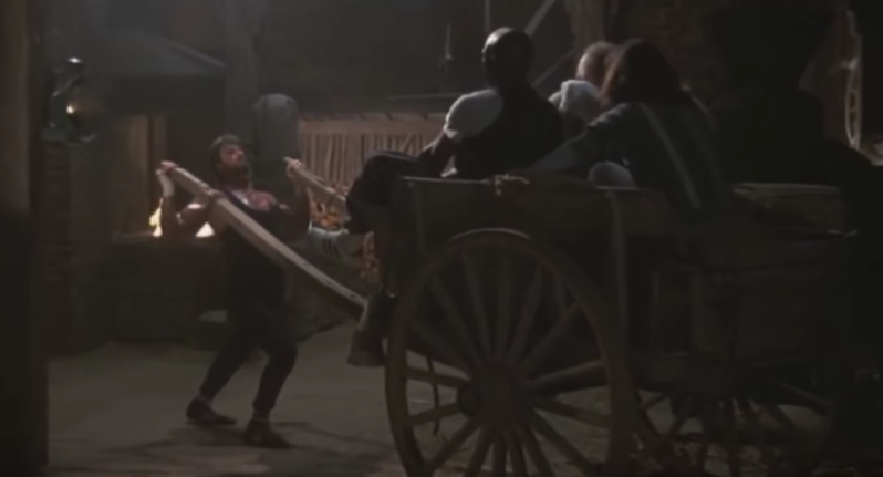 Rocky pulling a wagon full of people.