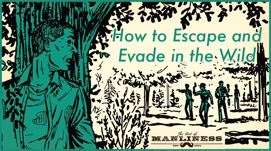 Poster of man escaping from police and evading in jungle by Art of Manliness.