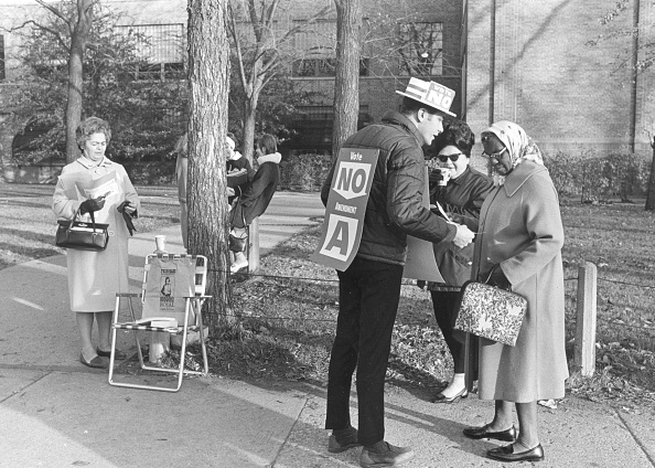 vintage man volunteering on political campaign