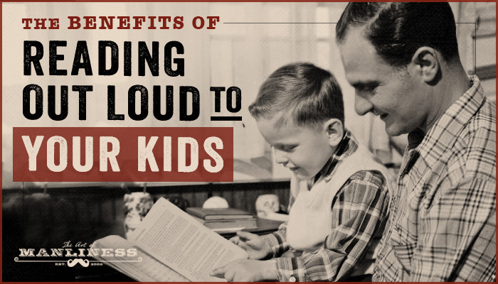 Benefits of reading aloud to children vintage dad reading to son.