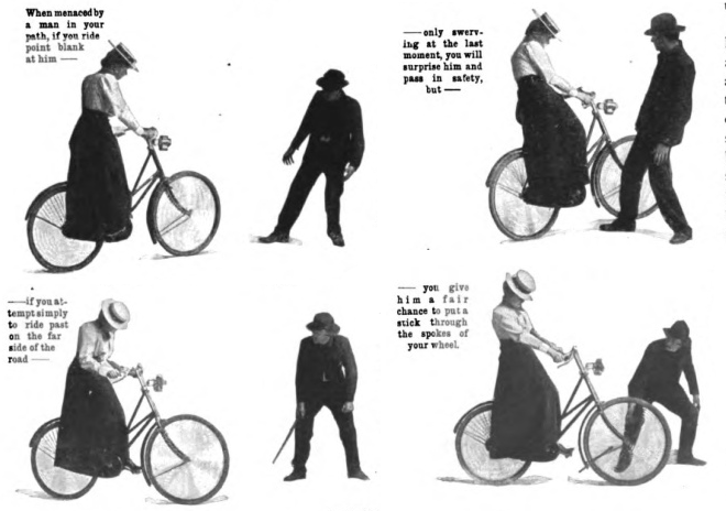 Illustration of a vintage woman learning bicycle.