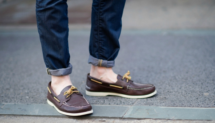 A pair of leather boat shoes