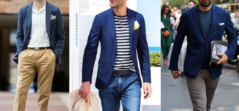 Wearing navy blue blazer with casuals.