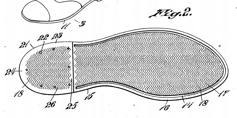sperry boat shoes original patent drawing