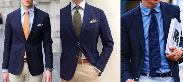 navy blazer with necktie
