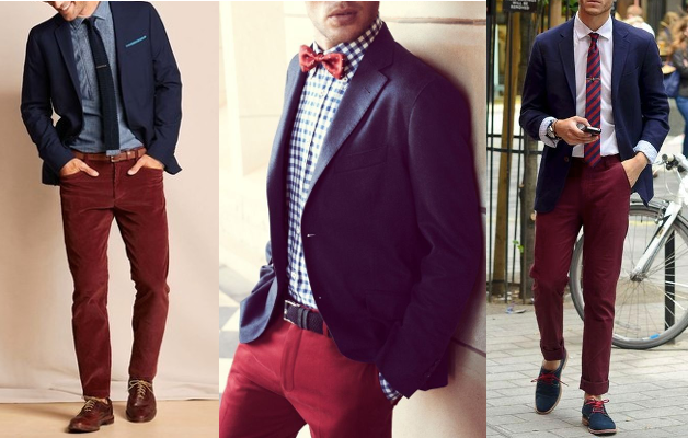 navy blazer with burgundy pants