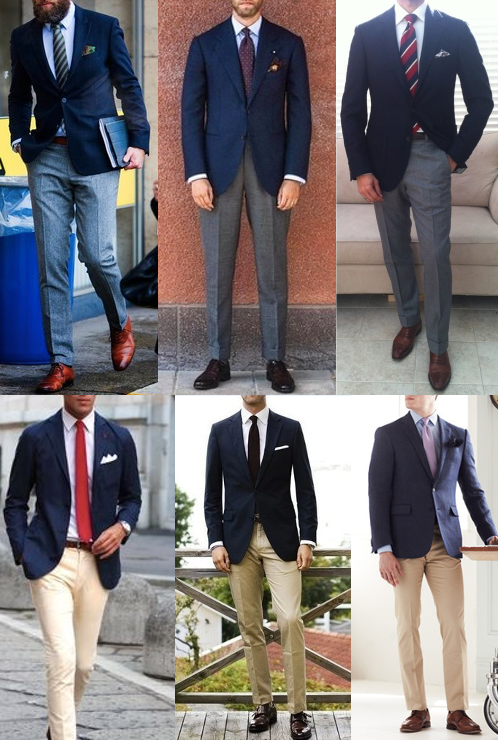 navy blazer with gray and khaki dress pants