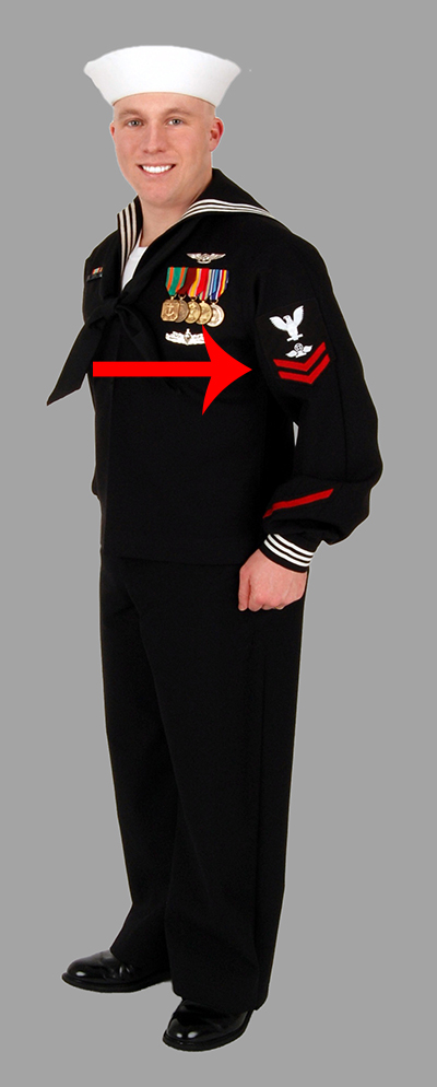 Solider wearing uniform with patch on the left sleeve.