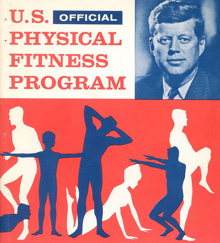Vintage man and people are working out in a poster.