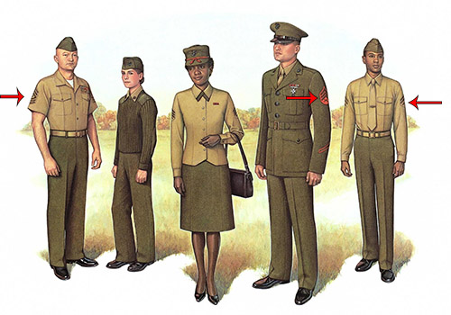 Illustration of soldiers with pin on their shoulders.