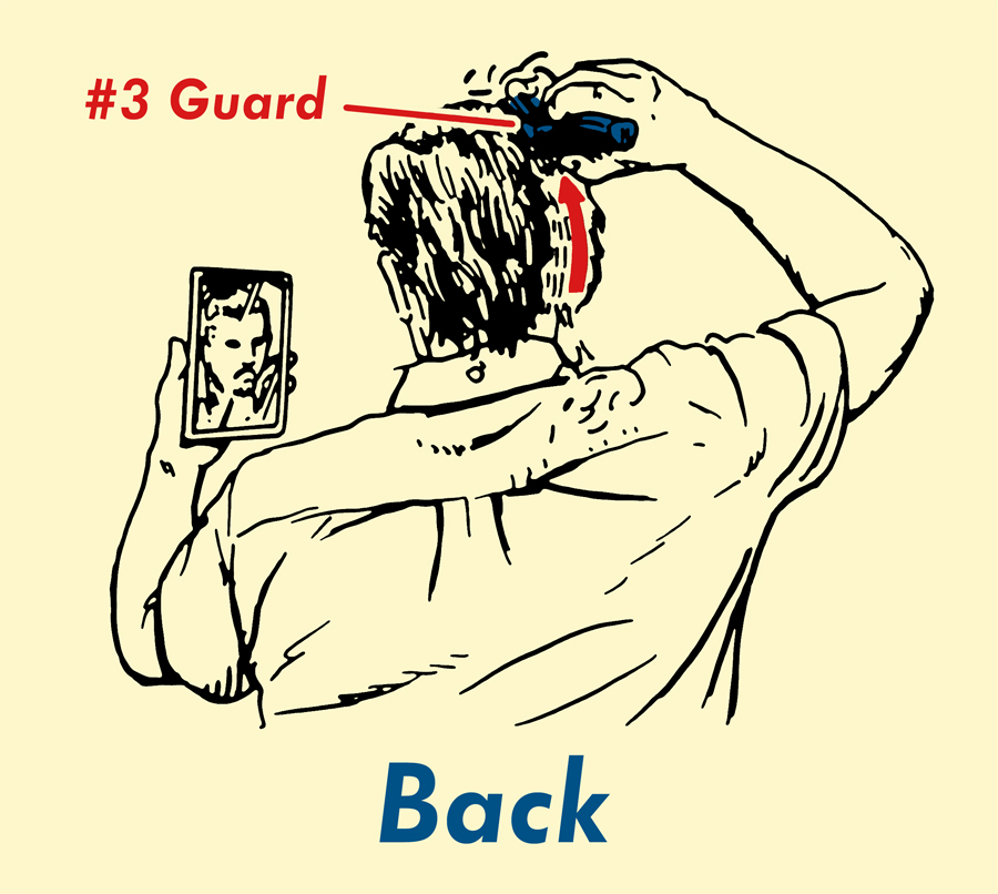 Cutting hair from back with the help of mirror.