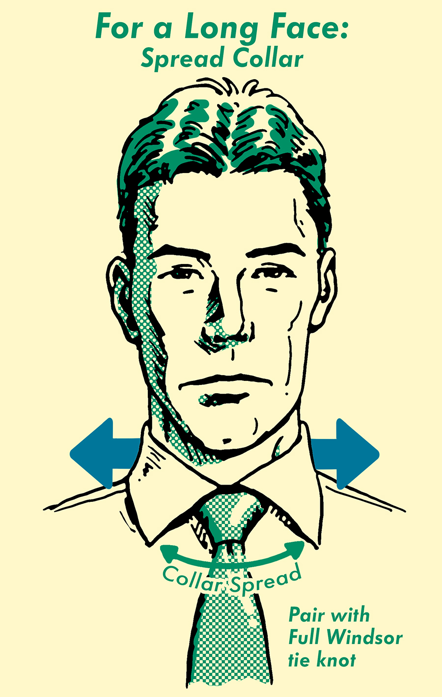 A long face man with spread collar illustration.