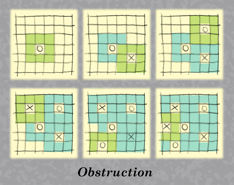 Obstruction game with filled grids.