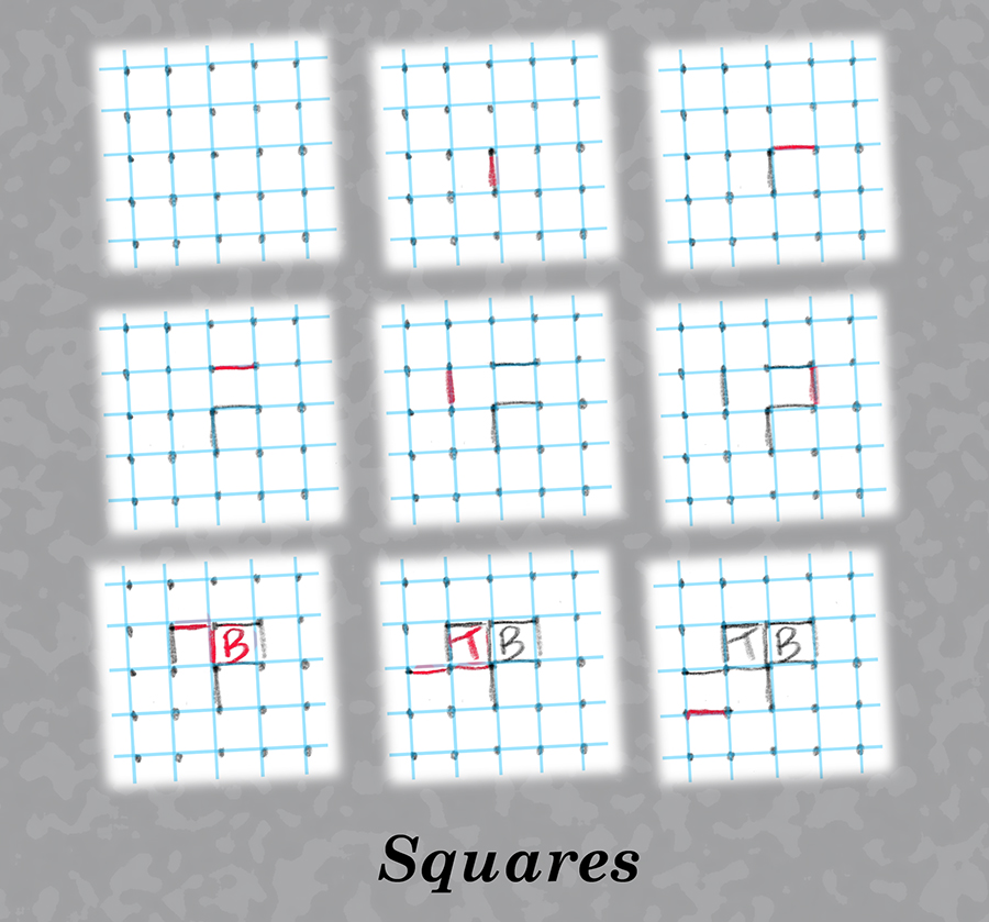 Grid of dots in squares game.