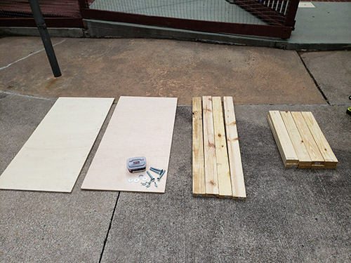 Materials and tools for making Cornhole boards.