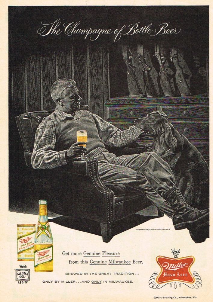 Vintage man holding a glass of Miller High beer and another hand on dog ad.