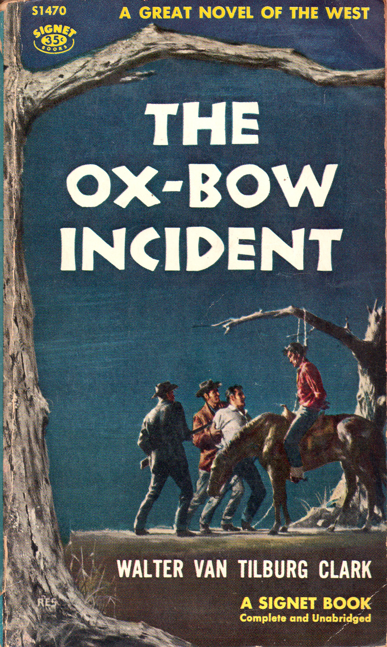 Novel cover of The Ox-Bow Incident by Walter Van Tilburg Clark.