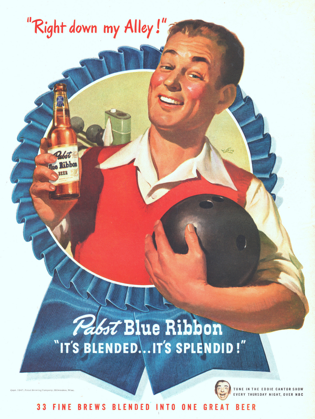 Illustration of a man holding Pabst Blue Ribbon beer and ball in another hand.