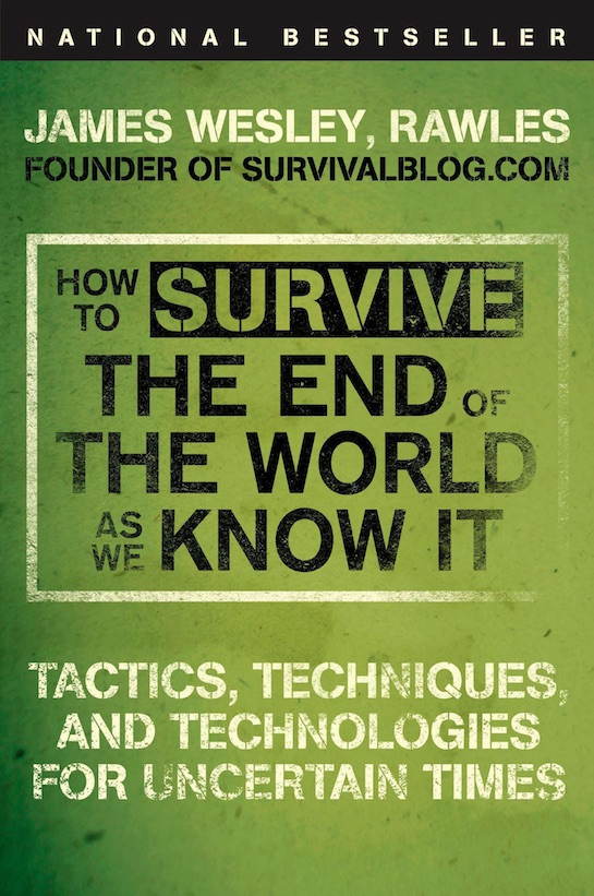 "Book cover of ""How to Survive the End of the World"" by james Wesley Rawles."