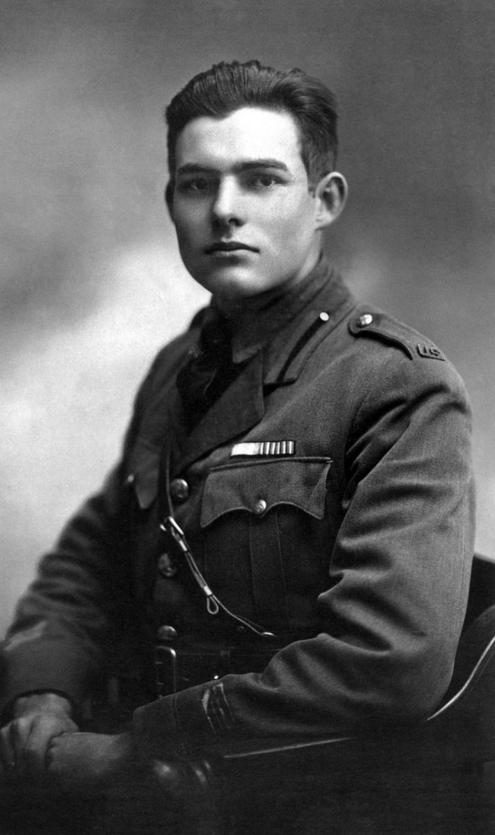 Potrait of Hemingway in a uniform.