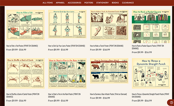 Vintage guide about different illustrations.