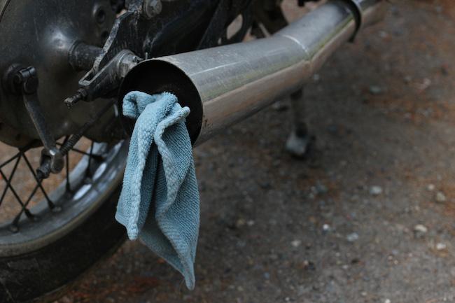 Cloth in the silencer of bike.