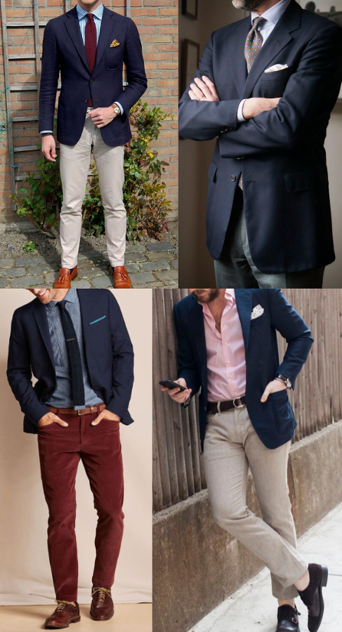 Navy blazer in different colors.