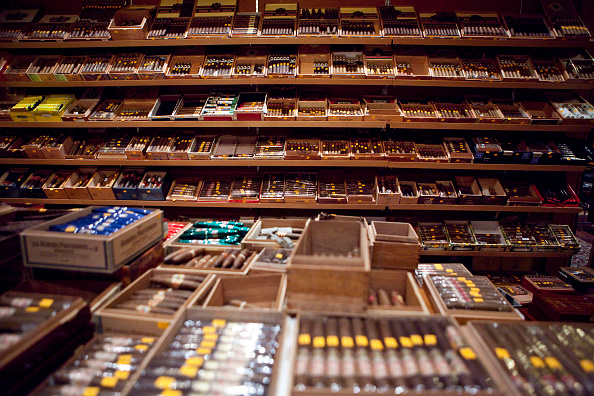 Different flavors of cigars in a shop.