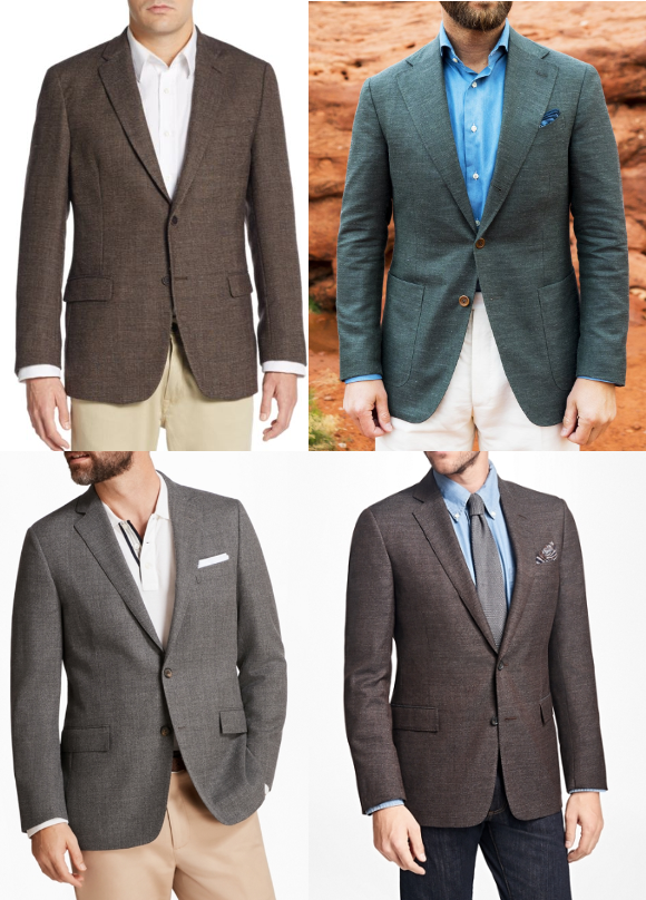 Hopsack sport coat in different colors.