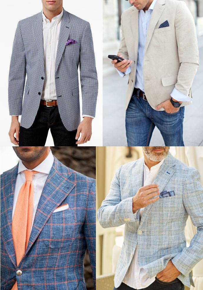 Thin warm weather sport coat in different colors.