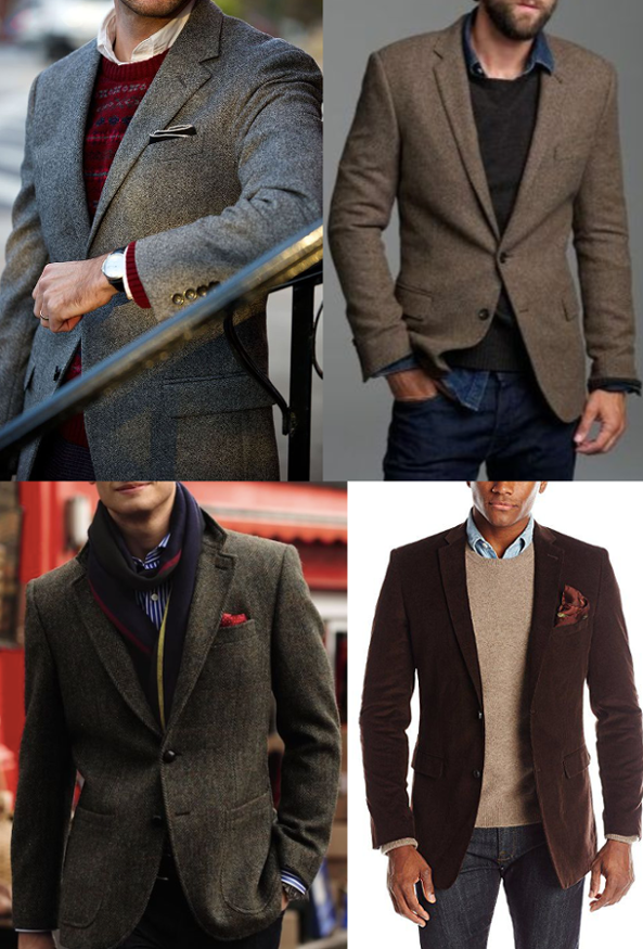 Cold weather sport coat in different shades.