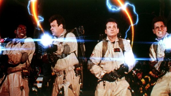 "Scene from the movie ""The Ghost Busters"" in which a group of men are fighting with guns."