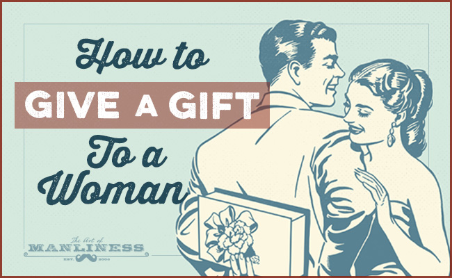Poster by AOM about how to give a gift to women.