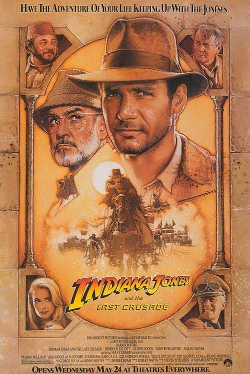 "Cover page of the movie ""Indiana Jones and the last Crusade"" in which main characters are shown."