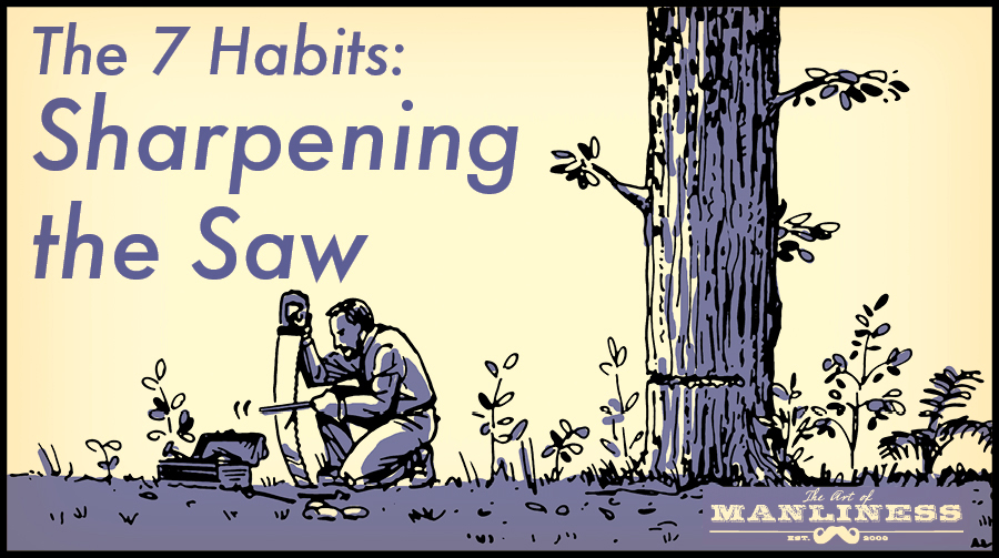 Poster by Art of Manliness about habits for sharpening the saw.