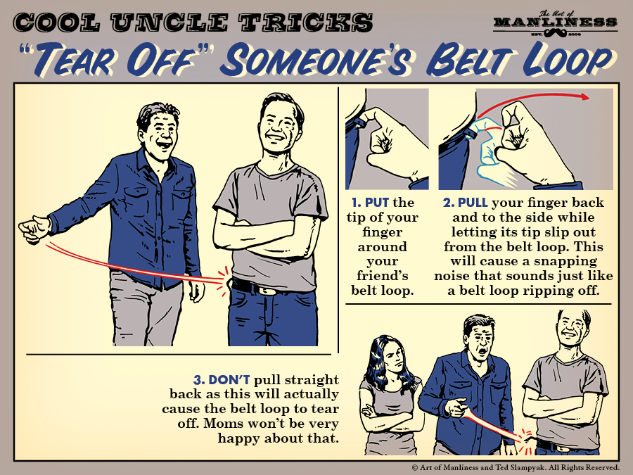 Poster by Art of Manliness about tricks for tearing off someone's belt loop.