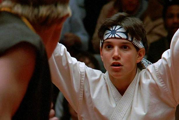 "Scene from the movie ""The karate kid"" in which the boy is facing his opponent."