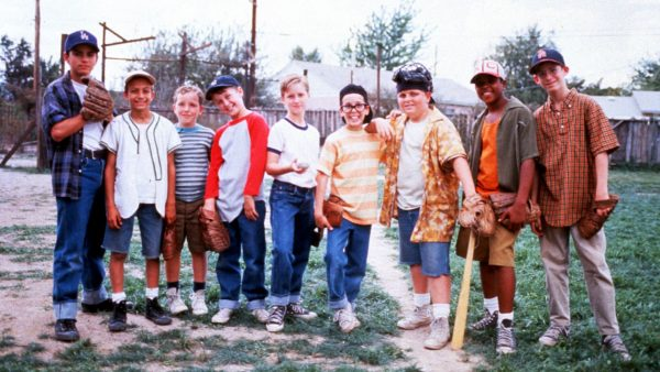"Scene from the movie ""The Sandlot"" in which boys are ready to play baseball."