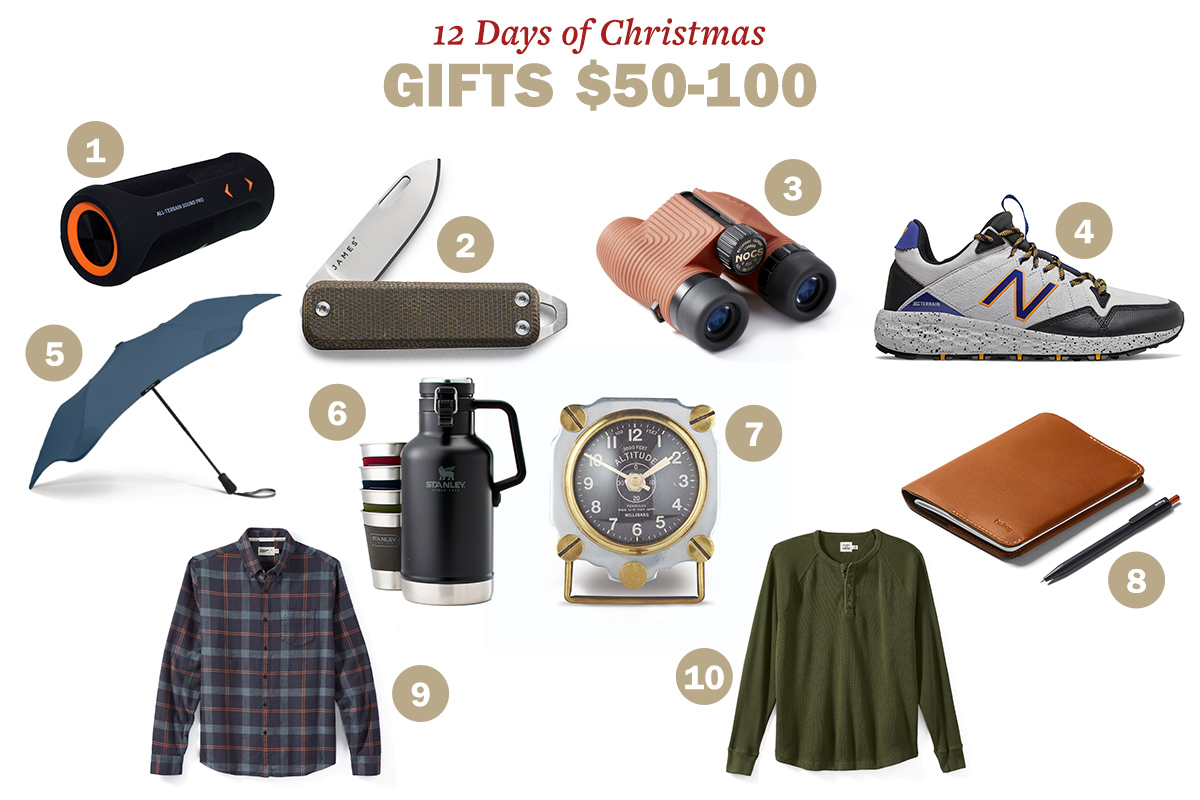 Accessories for christmas like speaker, knife, binoculars, shoes, umbrella, watch, notepad with pen, one shirt with collar and one without collar are displayed.