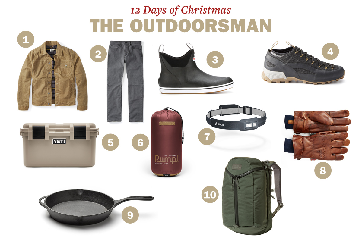 Giveaways for christmas like jacket, pants, shoes, joggers, gloves, frying pan, backpack, Yeti GoBox, blanket and headlamp being displayed.