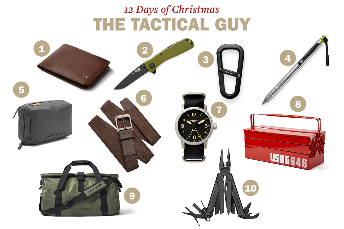 The tactical guy's wallet, knife, watch, pen, hand carrying bag, belt, office bag, hardin, waveplus, tool box are displayed.