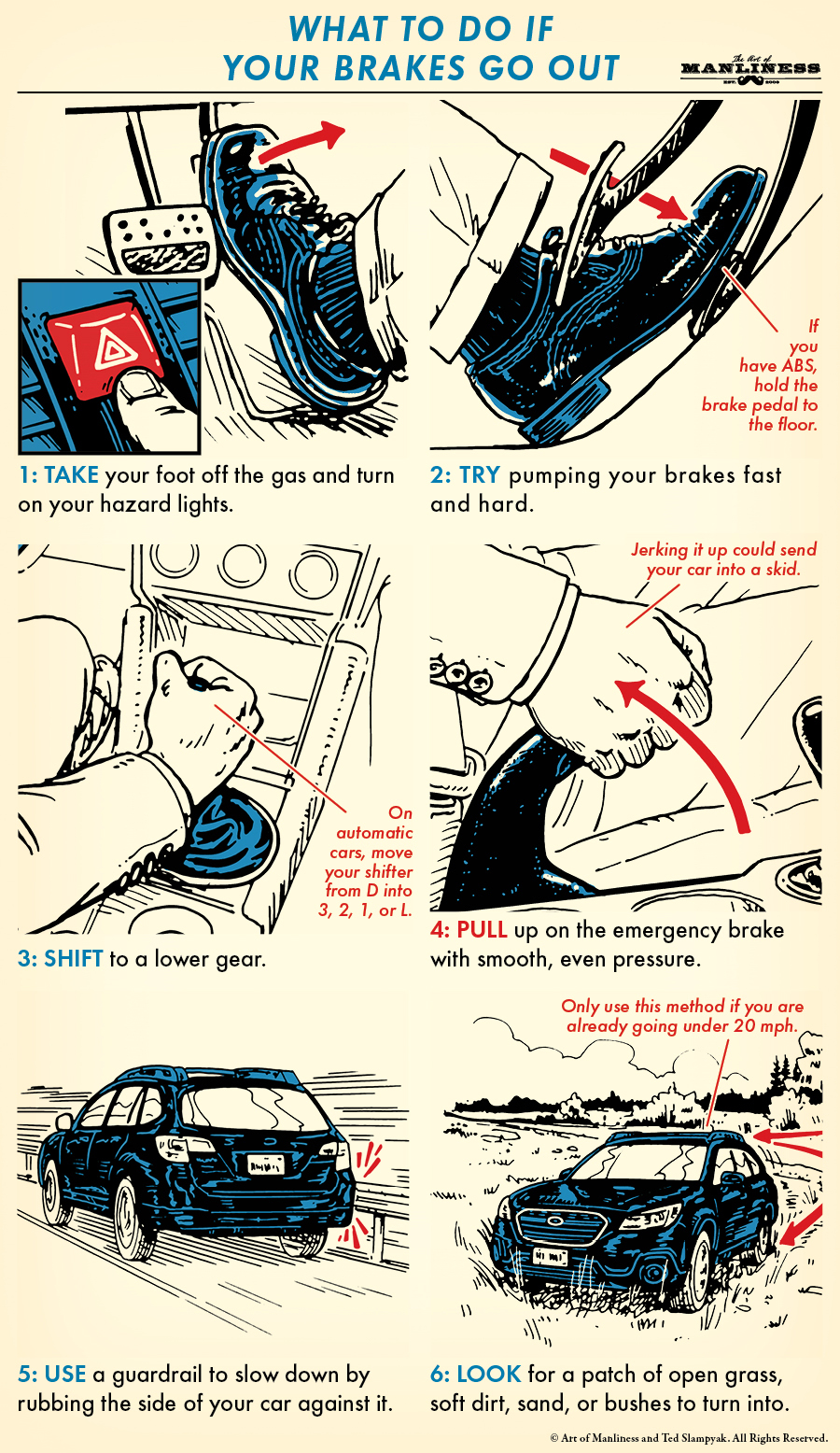 Illustration of what to do when your brakes go out.